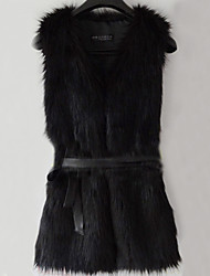 chaleco de piel con mangas sin cuello en partido de piel sintética / chaleco ocasional (más colores)