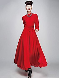 Women's Party/Cocktail Vintage Dress,Solid Knee-length Long Sleeve Red / Black Spring