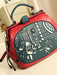 HONGQIU Women's Cute Leather Handbag(Red)