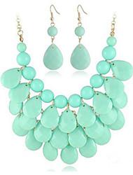 Putizi Meer Tröpfchen Ohrringe und Halskette Set (Sky Blue)