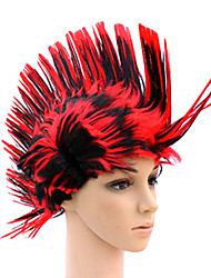 Red Cristate Synthetic Wig Mixed Colors