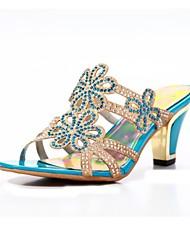 Sekt Glitter Frauen Chunky Heel Sandaletten mit Strass Slide Schuhe (weitere Farben)