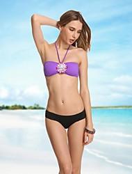 Mulheres de cristal violeta Vintage Bandeau Mais Sexy Bikinis Beach Wear Swimwear Natação Ternos Biquini