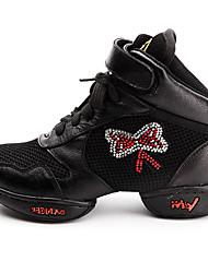 De las mujeres de cuero suave del Rhinestone Gimnasio Zapatillas Zapatos de baile