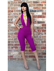 Women's Black/Purple Jumpsuits , Casual Long Sleeve