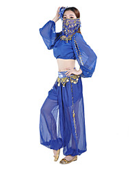 Women's Chiffon Belly Dance Harem Pants with Side Slits & Coins More Colors