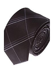 Men's Solid Colour Fashion Black Plaid Narrow  Microfibre Necktie