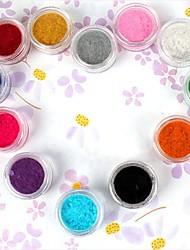 12PCS Multi-color Velvet decoratieve Powder Stel Nail Art Decoration