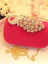 Women Velvet Event/Party Evening Bag Red Fuchsia