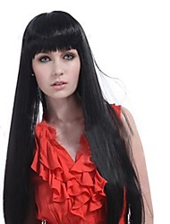 Capless Extra Long Natural  Black  Straight  Hair  Wigs Full Bang