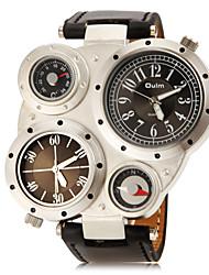 Mannen Alle Matched ronde wijzerplaat pu band quartz analoog Fashion Watch (assorti kleur)