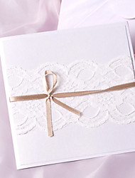 Elegant Wedding Invitation With Lace and Ribbon- Set Of 50