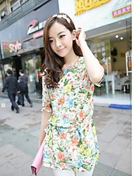 Women's Floral Green/Pink Blouse , Round Neck ½ Length Sleeve
