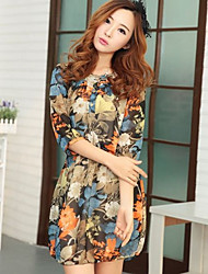 Vintage Chiffon Equipada vestido floral de la impresión de las mujeres YGR