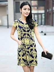 Women's Cute Dress Above Knee Short Sleeve Multi-color Summer