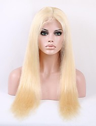 Full Swiss Lace 20 Inch Light Blonde #613 Color Silky Straight Indian Remy Human Hair Wig
