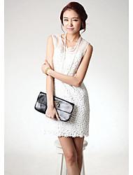 Mini vestido de las mujeres elegantes del cordón de señora de la oficina