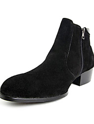 Men's Winter Comfort / Fashion Boots Leatherette Dress Flat Heel Black / Brown
