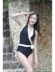 Moda feminina Sexy Preto Branco bowknot Halter Swimwear