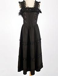 Sleeveless Knee-length Black Cotton Classic Lolita Dress
