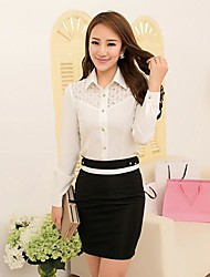Women's Solid Black/White Shirt , Shirt Collar Long Sleeve Lace