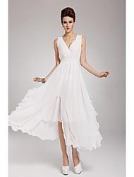 Europa Elegante gasa Perlas V vestido de cuello de la mujer Nichols (Blanco)
