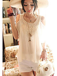 Women's Round Neck Pleated/Beaded Chiffon Sleeveless