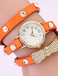 Koshi 2014 Bow Tie Diamonade en cuir 3 ronde de Women Watch (Orange)
