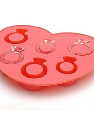 6 Holes Diamond Rings Shape Icy Cube Tray, Food Safe Silicone Rubber, Random Color