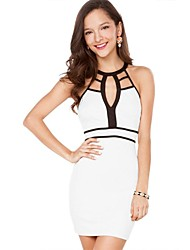 Women's Crew Neck Backless/Hollow Out Mini Dress , Spandex/Polyester White Sexy/Bodycon/Party