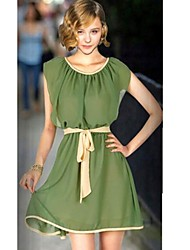 Women's Cute Dress Above Knee Short Sleeve Beige / Green Summer