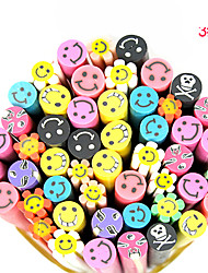 20PCS Polymer Smiling Face Canes Rods Nail Art Decoration