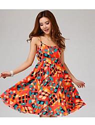 TS-Bohemia Print Knee Length Dress (Random Prints)