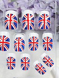 24PCS Union Jack Pattern Acrylic Full Size False Fake Nail Art Tips with Glue