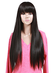 High Quality Synthetic Capless Long Straight Natural Black Full Bang Wigs