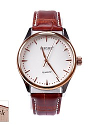 Personalized Gift Men's Simple White Dial Brown PU Band Analog Engraved Watch