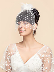 Tulle Dots Pattern Wedding/Party Blusher Veils With Flower(More Colors)