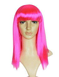 Long Straight Synthetic Wig Neat Bang Multiple Colors Available