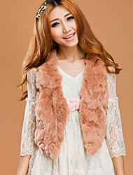 Fur Vest With Sleeveless Collarless Rex Rabbit Fur Party/Casual Vest(More Colors)