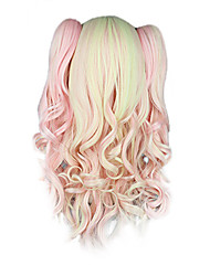 High Quality Cosplay Synthetic Wig Harajuku Style Lolita Candy Mixed Color Wavy Long Wig