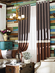 (dos paneles) chocolate sólido neoclásico y marrón costura cortina de ahorro de energía