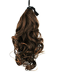 Ribbon Tied Lignt Brown Long Curly Synthetic Ponytail Hair Extensions