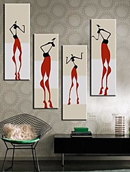 Stretched Canvas Art Abstract People Set of 4