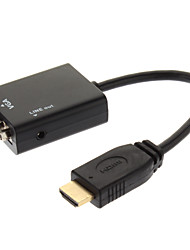 Universal Plug and Play HDMI Male to VGA Male with Audio Output Cable (22cm)