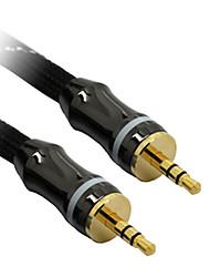 C-Cable AUX 3.5mm M/M Audio Cable Black Net-Plated(2M)