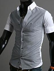 Chemise Pour des hommes Couleur Pleine Décontracté Mélange de Coton Manches Courtes Bleu / Blanc