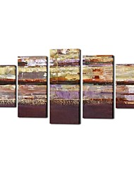 Hand Painted Oil Painting Landscape Knife Painted SeaScenery with Stretched Frame Set of 5