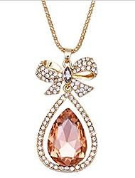 Shining  Fashion Elegant Alloy  Teardrop Shape Necklace (Pink)