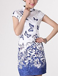 Collare delle donne di stampa Seiko The vestito cinese