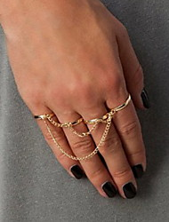Shixin® European Four Rings Combine With Chain Women'S   Midi Rings(Silver,Gold,Black)(1 Pc)